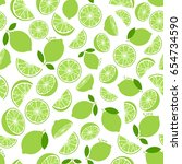 lime with green leaves  slice... | Shutterstock .eps vector #654734590