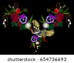 embroidery of a rose ornament... | Shutterstock .eps vector #654736693