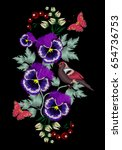 embroidery pansies  violets ... | Shutterstock .eps vector #654736753