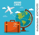 around the world. globe world... | Shutterstock .eps vector #654742450