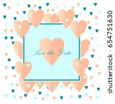hearts confetti frame with gold ... | Shutterstock .eps vector #654751630