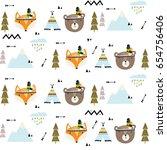 vector scandinavian pattern.... | Shutterstock .eps vector #654756406