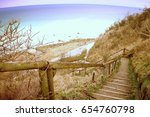 Old Wooden Stair Way Down With...