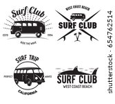 set of vintage surfing graphics ... | Shutterstock .eps vector #654762514