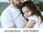 family. father with daughter at ... | Shutterstock . vector #654763840