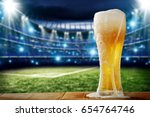 cold beer and sport time  | Shutterstock . vector #654764746