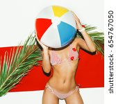 beach vibes hot summer hot girl ... | Shutterstock . vector #654767050