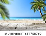 beach background and free space ... | Shutterstock . vector #654768760