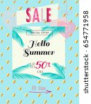 summer sale discount banner... | Shutterstock .eps vector #654771958