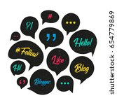 vector speech bubbles with... | Shutterstock .eps vector #654779869