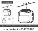Cable Railway Vector Line Icon...
