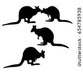 vector silhouette of a kangaroo ... | Shutterstock .eps vector #654785938
