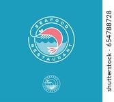 seafood restaurant logo. pink...   Shutterstock .eps vector #654788728