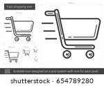fast shopping vector line icon... | Shutterstock .eps vector #654789280
