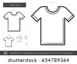 t shirt vector line icon... | Shutterstock .eps vector #654789364