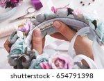 handmade headbands making  home ...   Shutterstock . vector #654791398