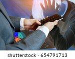 double expose of medical doctor ... | Shutterstock . vector #654791713