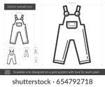 denim overall vector line icon... | Shutterstock .eps vector #654792718