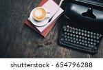 type writer vintage style on... | Shutterstock . vector #654796288