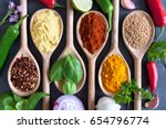 herbs and spices fresh... | Shutterstock . vector #654796774