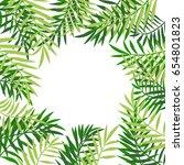 palm tree leaves frame or... | Shutterstock .eps vector #654801823