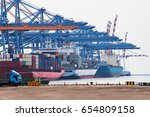 close up view cargo freight... | Shutterstock . vector #654809158