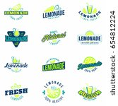 lemonade badges set. colorful... | Shutterstock .eps vector #654812224