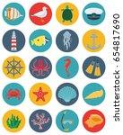 sea icons and symbols set. sea... | Shutterstock .eps vector #654817690