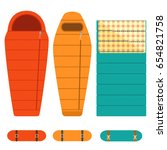 camping tourist sleeping bags... | Shutterstock .eps vector #654821758