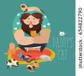 big man wih cute cats   Shutterstock .eps vector #654822790