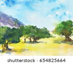 hand drawn landscape with olive ... | Shutterstock . vector #654825664