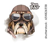 portrait of the bulldog in a... | Shutterstock .eps vector #654826558