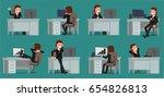 businessman working at his desk.... | Shutterstock .eps vector #654826813