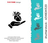 web icon. human heart in hand | Shutterstock .eps vector #654834520