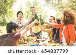 young multiracial friends...   Shutterstock . vector #654837799