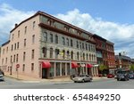 Small photo of BANGOR, ME, USA - MAY 20, 2016: Adams-Pickering Block at Main Street and Middle Street intersection in downtown Bangor, Maine, USA. This building was listed on the National Register of Historic Places