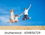 beautiful happy family walking  ... | Shutterstock . vector #654856729