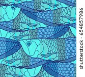 tropical fish seamless pattern | Shutterstock .eps vector #654857986