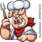 chef pig with evil smile.... | Shutterstock .eps vector #654871024