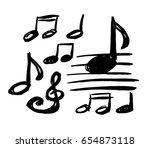 vector musical notes. sketch | Shutterstock .eps vector #654873118