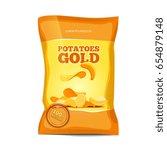 crisp potato chips snacks bag...   Shutterstock . vector #654879148