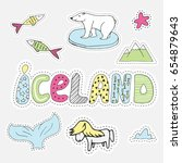 hand drawn cartoon iceland set... | Shutterstock .eps vector #654879643