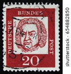Small photo of MOSCOW, RUSSIA - APRIL 2, 2017: A post stamp printed in DDR (Germany) shows Johann Sebastian Bach (1685-1750), circa 1961