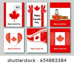 set of greeting cards in... | Shutterstock .eps vector #654883384