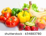 assorted vegetables and fruits | Shutterstock . vector #654883780