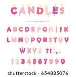 birthday candles font design.... | Shutterstock .eps vector #654885076