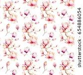 watercolor seamless wallpaper... | Shutterstock . vector #654886054