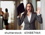 stressed panicked business... | Shutterstock . vector #654887464