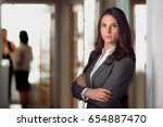 strong female lawyer standing... | Shutterstock . vector #654887470