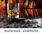 glass of whiskey and ice...